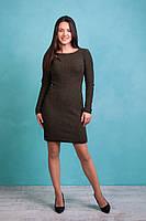 Зимнее вязаное платье цвета хаки