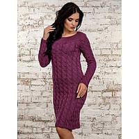 Женское вязанное платье 50247(фуксия)