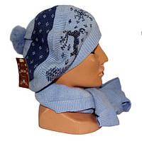 Набор Шапка с шарфом женская теплая опт