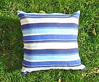 Подушка декоративная 40х40см. Полосы синие и голубые.