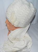 Шапка с шарфом женская теплая опт