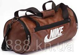 Кожаная спортивная сумка бочка Nike коричневый  реплика