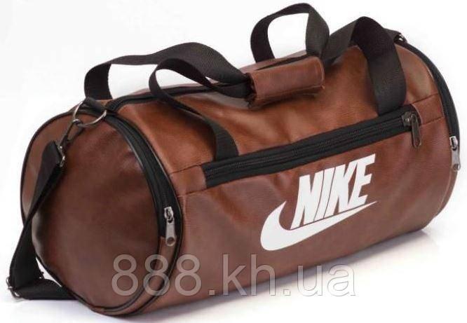 Кожаная спортивная сумка бочка Nike коричневый  реплика, фото 1