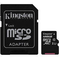 Карта памяти microSDXC, 128Gb, Class10 UHS-I, Kingston, SD адаптер (SDC10G2/128GB)
