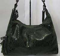 Женская сумка тёмно-зелёного цвета из натуральной кожи