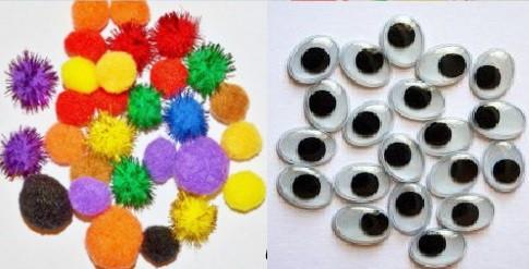 Глазки, носики, наполнитель для игрушек; помпон для декора и творчества;