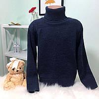 """Теплый, детский свитер на мальчика """"Однотонный под горло"""" вязка шерсть с акрилом"""