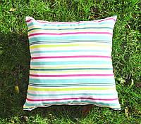 Подушка декоративная 40х40см. Полосы цветные.