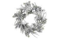 Венок из искусственной хвои в снегу с белыми ягодами 42 см