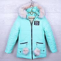 """Куртка подростковая зимняя """"Aape"""" для девочек. 10-15 лет. Бирюзовая. Оптом."""