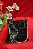 Кожаная чёрная женская сумка
