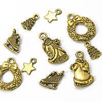 Кулоны новогодние Микс, античное золото