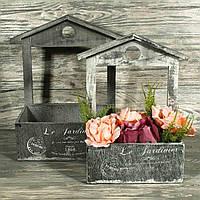 Деревянный ящик (кашпо) для флористики 6926-6 (комплект 2 шт)