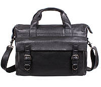 Мужская сумка-портфель из натуральной высококачественной кожи черная