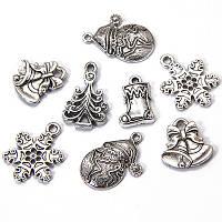 Кулоны новогодние Микс, античное серебро