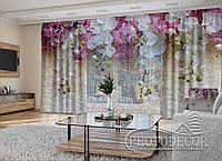"""3D - Фото Шторы и тюль """"Ламбрекены из белых орхидей"""" 2,5м*5,9м (карниз 4,9м)"""