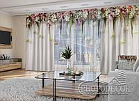 """3D - Фото Шторы и тюль """"Ламбрекены из цветков. Белые"""" (шторы 2,5м*2,9м, тюль 2,5м*3,0м)"""