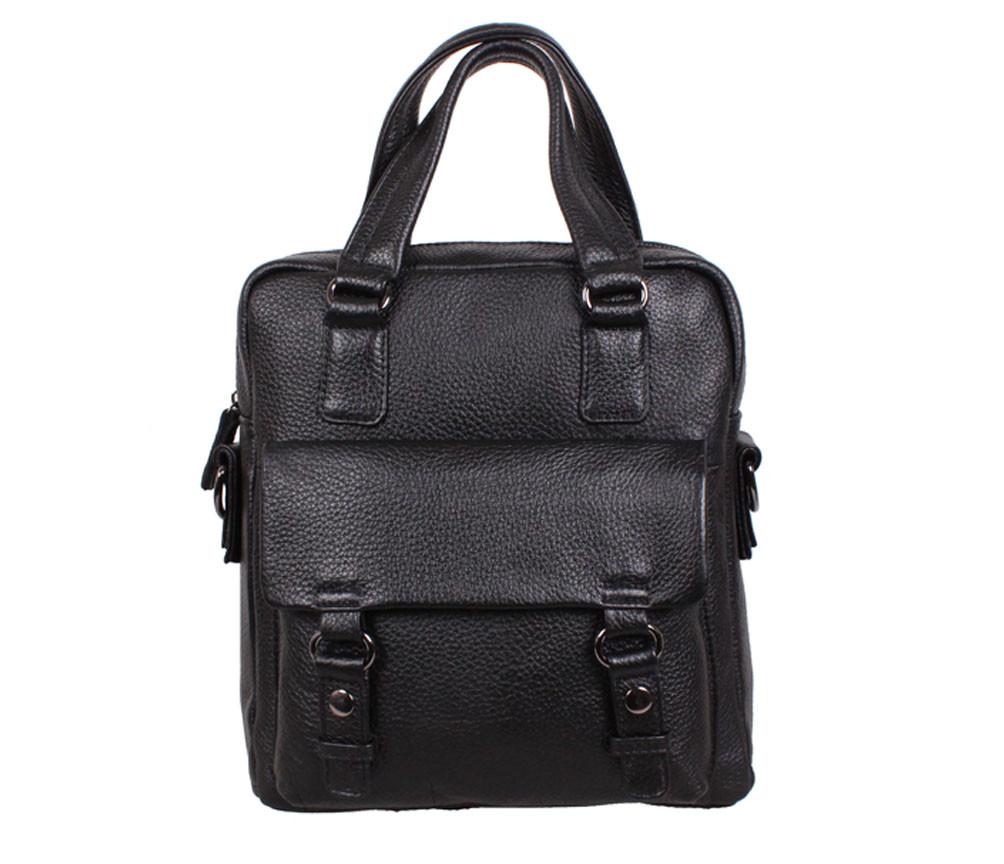 Вертикальная мужская сумка формата А4 из натуральной кожи черная