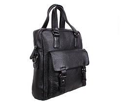 bd6ea221e663 Вертикальная мужская сумка формата А4 из натуральной кожи черная, фото 2