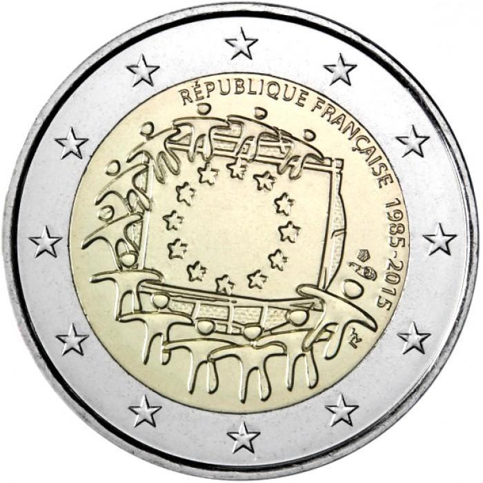 2 евро 2015 Франция - 30 лет Флагу. UNC