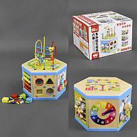 """Деревянная игра С 23042 (8) """"Куб-логика"""", лабиринт, счеты, геометрические фигуры, часы, в коробке"""