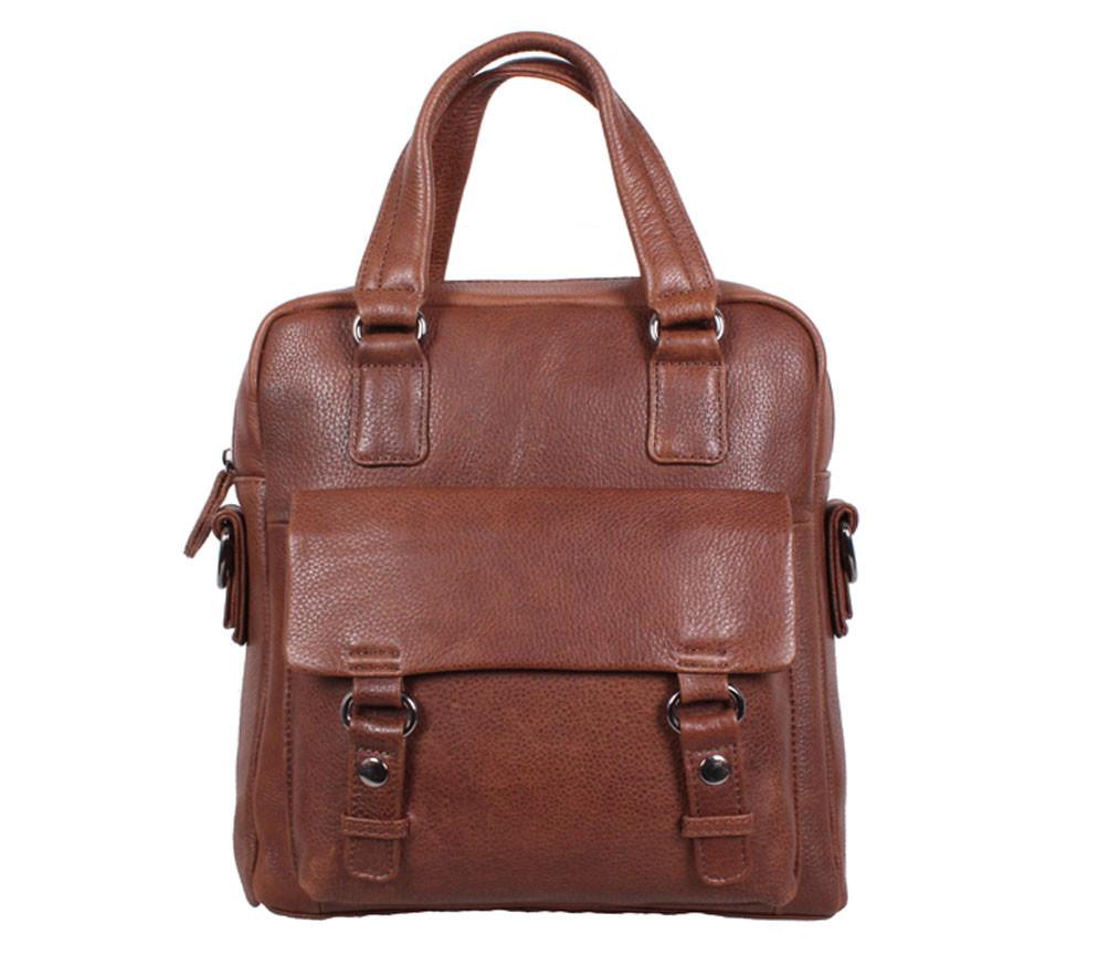 Вертикальная мужская сумка формата А4 из натуральной кожи коричневая