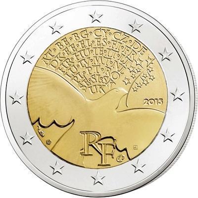 2 євро 2015 Франція - 70 років миру. aUNC