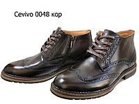 """Ботинки """"броги"""" мужские зимние  натуральная кожа коричневые на шнуровке (0048), фото 1"""