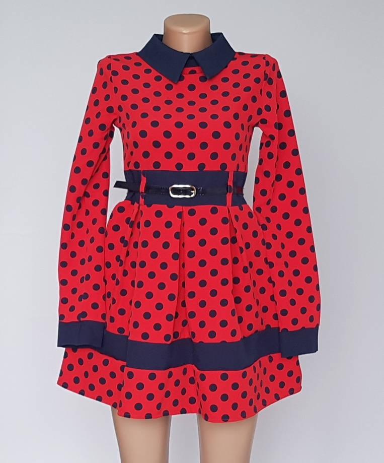 Платье в горох с воротником с 140 по 158 рост