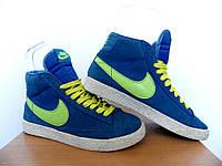 Кроссовки Nike Blazer 100% ОРИГИНАЛ р-р 36 (22,5см) (Б/У, СТОК) найк высокие замшевые синие original, фото 1