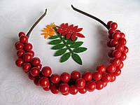 Обруч с гладкими ягодами калины 135 грн, фото 1