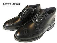 """Ботинки """"броги"""" мужские зимние  натуральная кожа черные на шнуровке (0048)"""