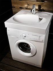 Раковина над стиральной машиной 60х60 см белая (камень)