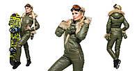 """Стильный, теплый, комфортный, женский, лыжный комбинезон """"Капюшон и рукавицы с мехом енота""""42-60р РАЗНЫЕ ЦВЕТА"""