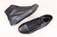 Ботинки мужские зимние из натуральной кожи на меху на шнурках с вставками из натурального нубука