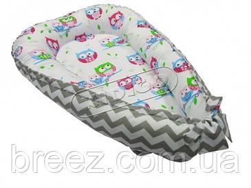 Кокон для новорожденных KIDIGO Зигзаги-совы