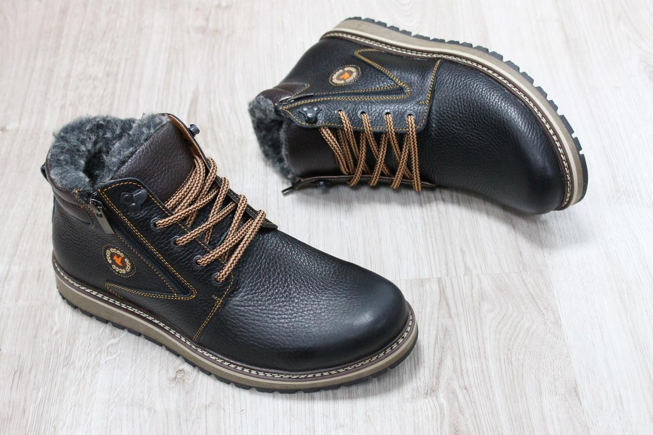 987d9199 Зимние мужские кожаные ботинки Ecco на шнурках высокие темно-коричневые