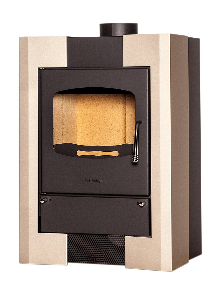 Отопительная печь-камин длительного горения FLAMINGO ESPO I (кремовый металик)