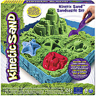 Набор песка для детского творчества - KINETIC SAND ЗАМОК ИЗ ПЕСКА (зеленый, 454 г, формочки, лоток) (71402G)