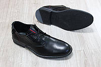 Туфли мужские классические на шнурках черная кожа Hilfiger