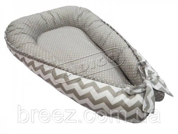 Кокон для новорожденных KIDIGO Зигзаги-горошек
