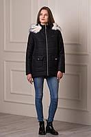 Женская зимняя куртка с мехом REAL черного цвета  БЕСПЛАТНАЯ ДОСТАВКА!!!