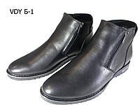 Ботинки мужские зимние  натуральная кожа черные на молнии (Б-1)