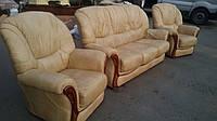 Комплект мягкой кожаной мебели 3+1+1. Кожаная мягкая мебель.