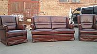 Комплект мягкой кожаной мебели 2+1+1. Кожаная мягкая мебель.