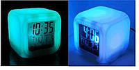Часы будильник хамелеон с термометром