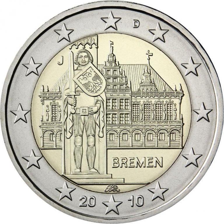 2 євро 2010 J Німеччина - Бремен. aUNC