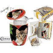 """Подарочный набор """"Котята"""" кружка-заварник + поздравительная открытка + брелок """"Кошкин хвост"""""""