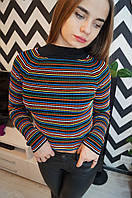 """Молодежный, женский свитер """"В разноцветную полоску, машинная вязка""""  Турция!"""