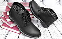 Туфли-ботинки мужские зимние классического стиля кожаные на шнурках черные